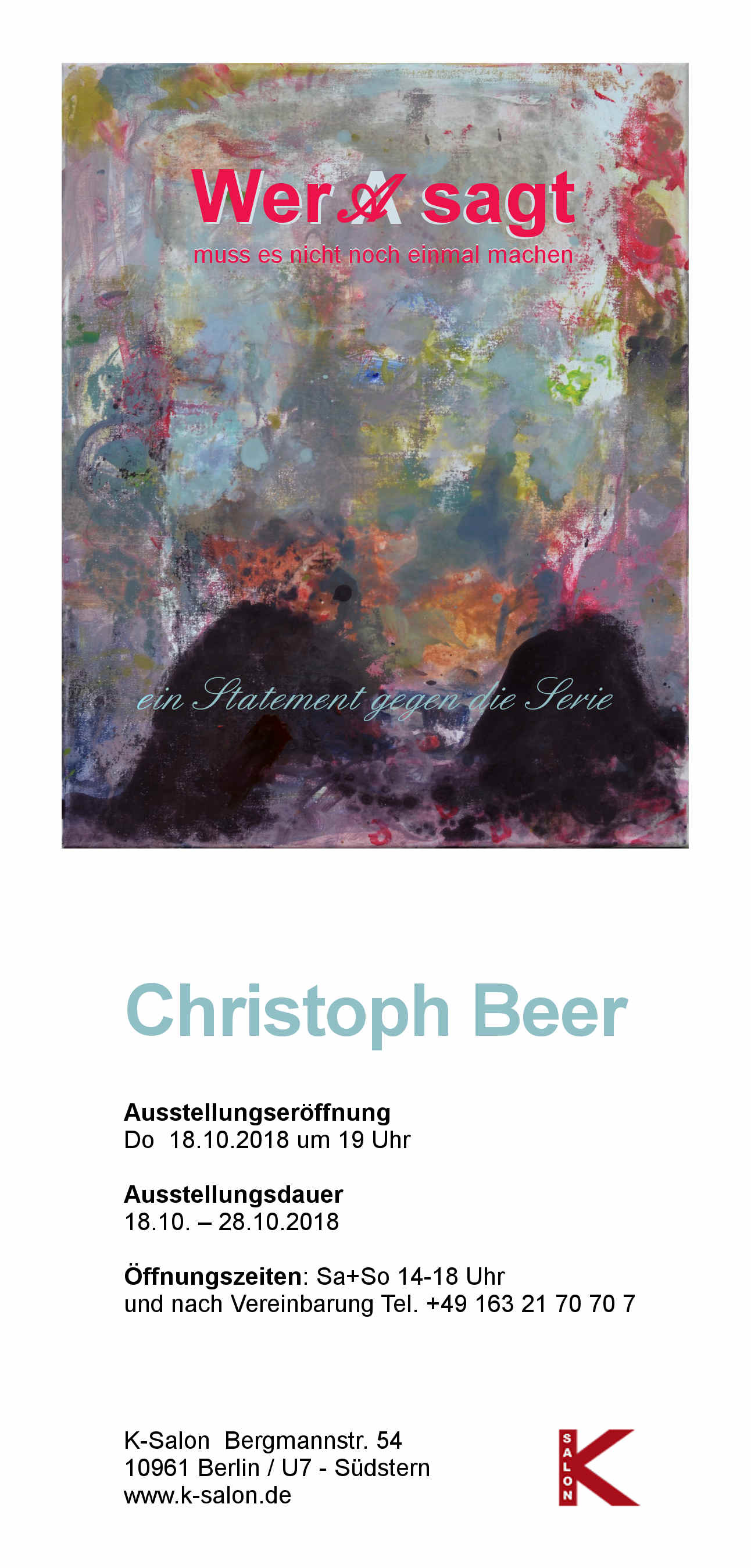 K Salon Einladung Christoph Beer 2018